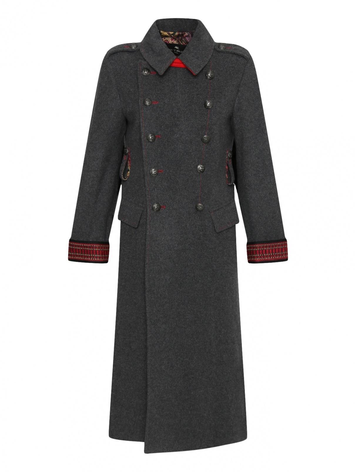 Двубортное пальто из смешанной шерсти с контрастной отделкой Etro  –  Общий вид