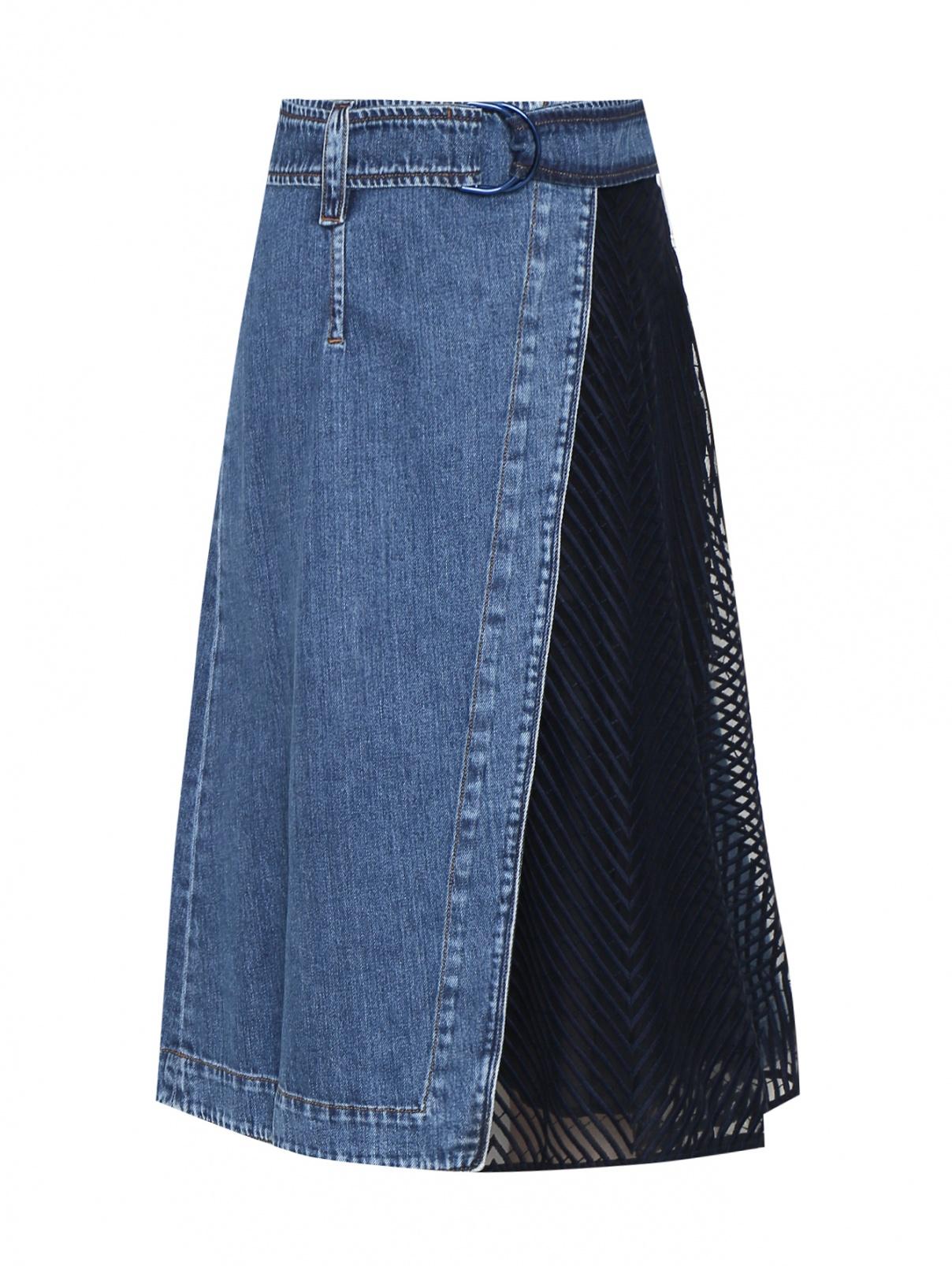 Юбка джинсовая с декоративной вставкой Max Mara  –  Общий вид