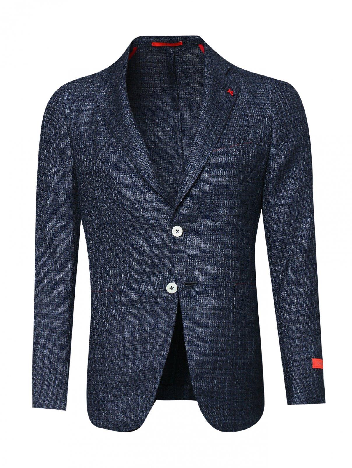 Пиджак из шерсти, шелка и льна с карманами Isaia  –  Общий вид