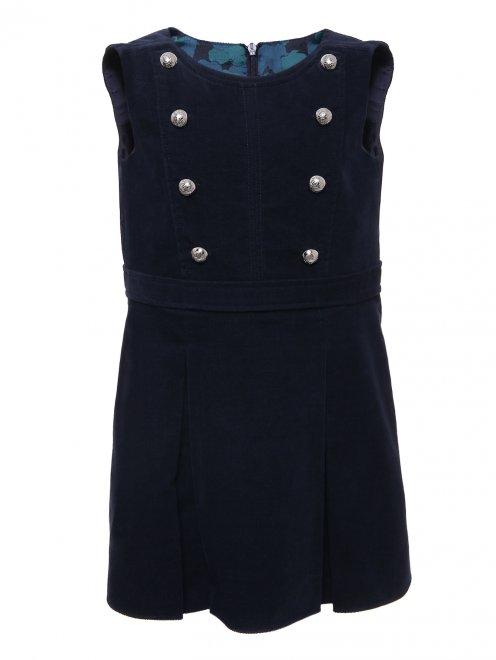 Платье бархатное с пуговицами - Общий вид
