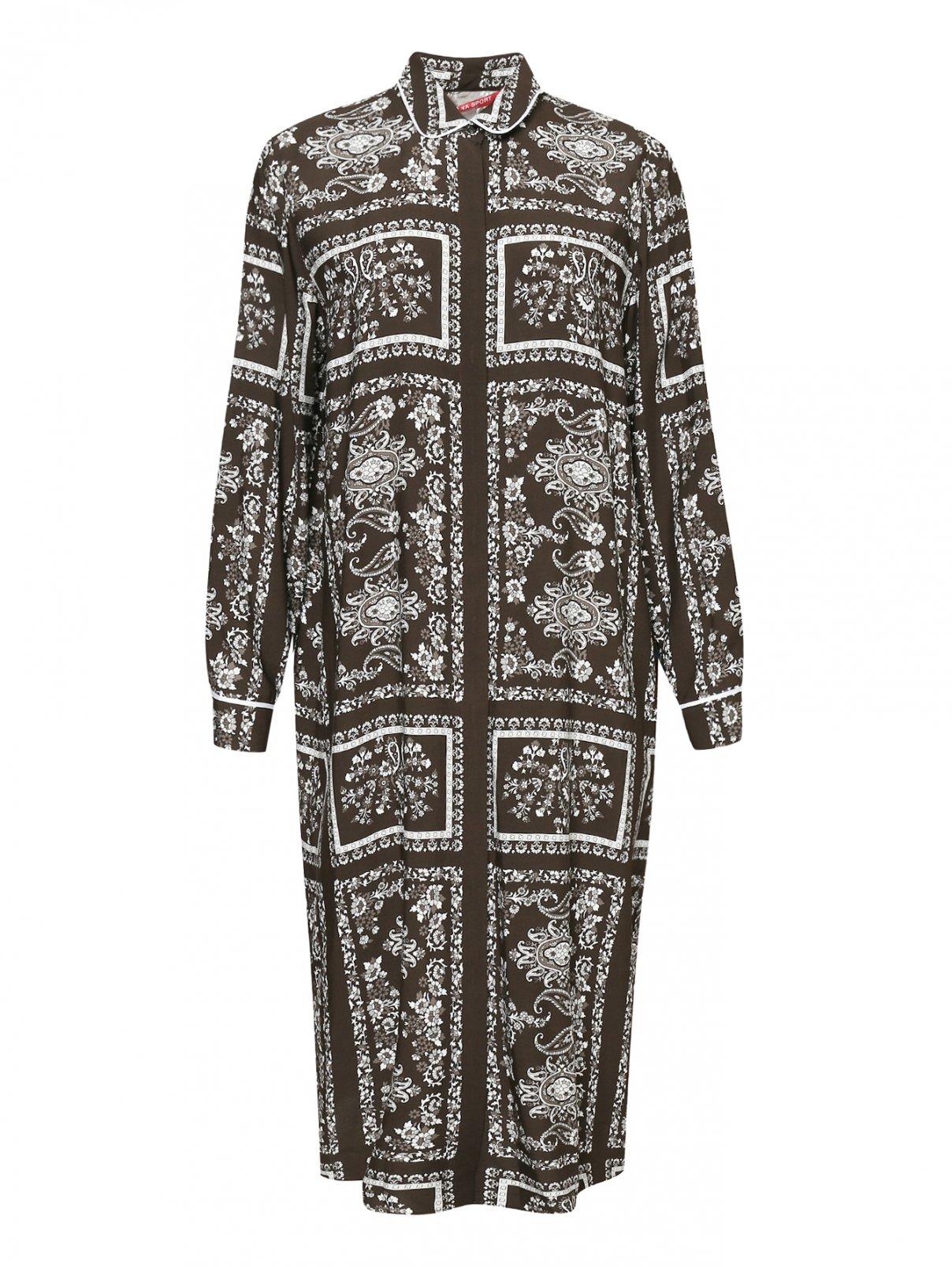Платье из вискозы с цветочным принтом Marina Rinaldi  –  Общий вид
