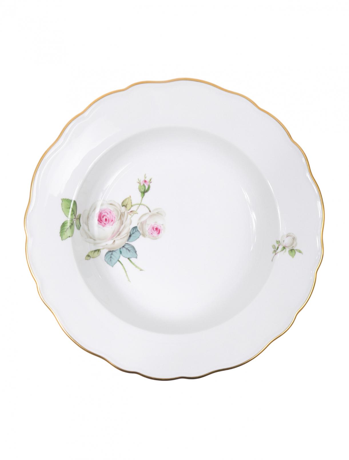 Тарелка суповая из фарфора с цветочным узором и золотой окантовкой Meissen  –  Общий вид