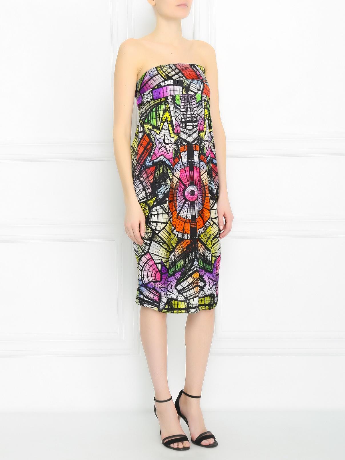 Платье-футляр из шелка с абстрактным узором Jean Paul Gaultier  –  Модель Общий вид
