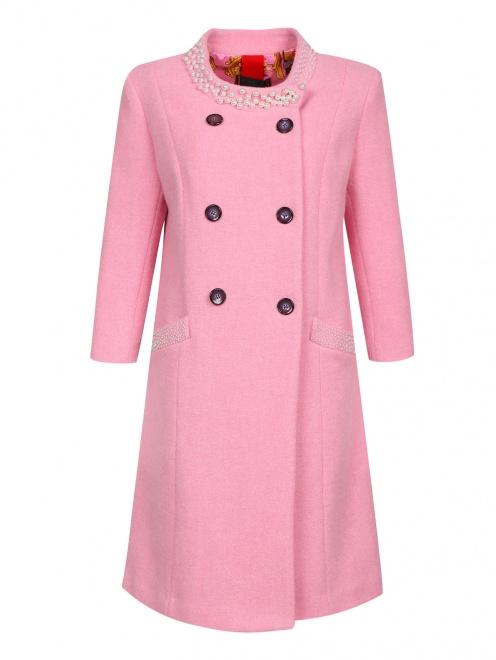 Пальто из шерсти с аппликаций из бусин - Общий вид