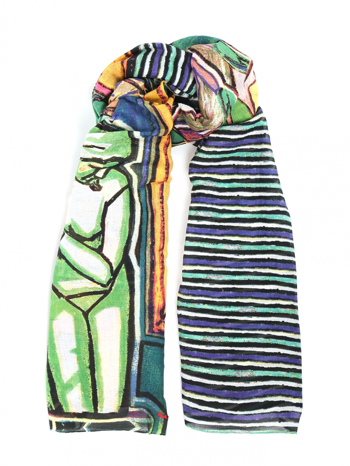 Шарф из хлопка и шелка с узором Paul Smith  –  Общий вид