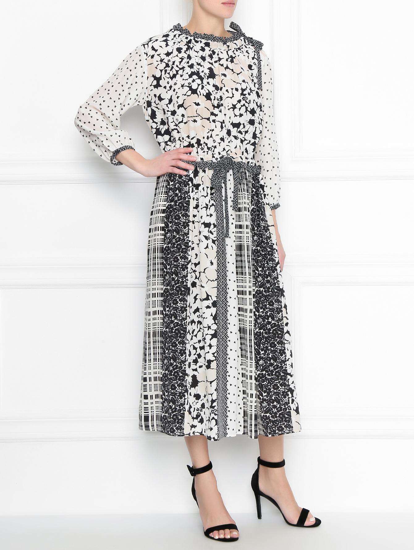 92936a033e38 Weekend Max Mara белое платье из шелка с узором (457376), купить по ...