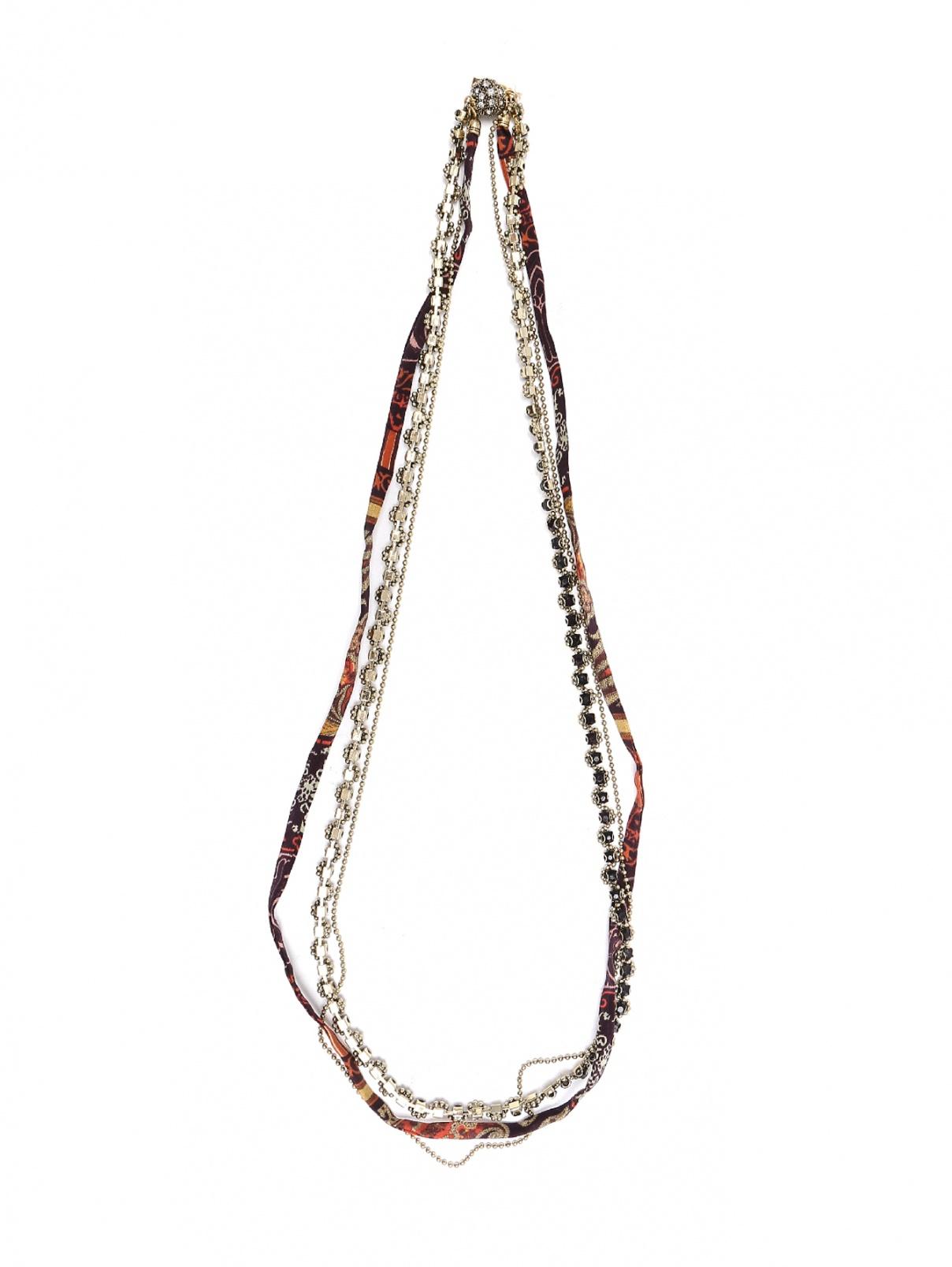 Ожерелье из медной цепочки, декорированной кристаллами и шелковой ленты Etro  –  Общий вид