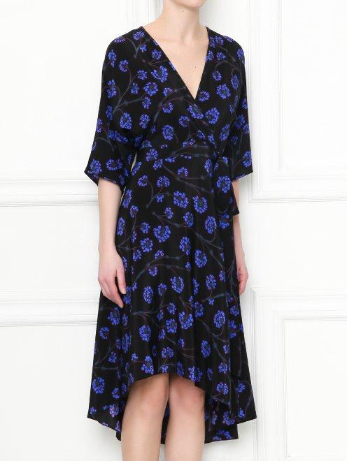 Платье-миди из шелка с узором Diane von Furstenberg - МодельВерхНиз