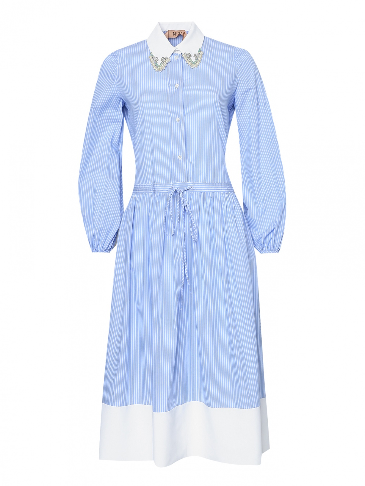 Платье в полоску с декоративным воротником N21  –  Общий вид