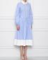 Платье в полоску с декоративным воротником N21  –  МодельВерхНиз