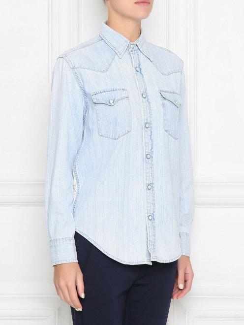 Рубашка из хлопка на кнопках - МодельВерхНиз
