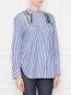 Блуза из хлопка в полоску с вышивкой бисером Dorothee Schumacher  –  МодельВерхНиз