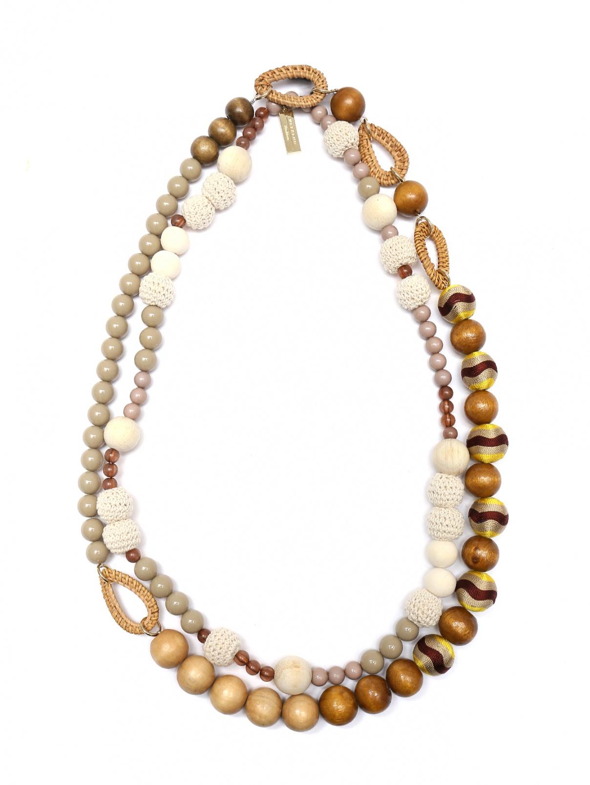 Комплект из 2-х ожерелий,  из деревянных и пластиковых бусин Weekend Max Mara  –  Общий вид
