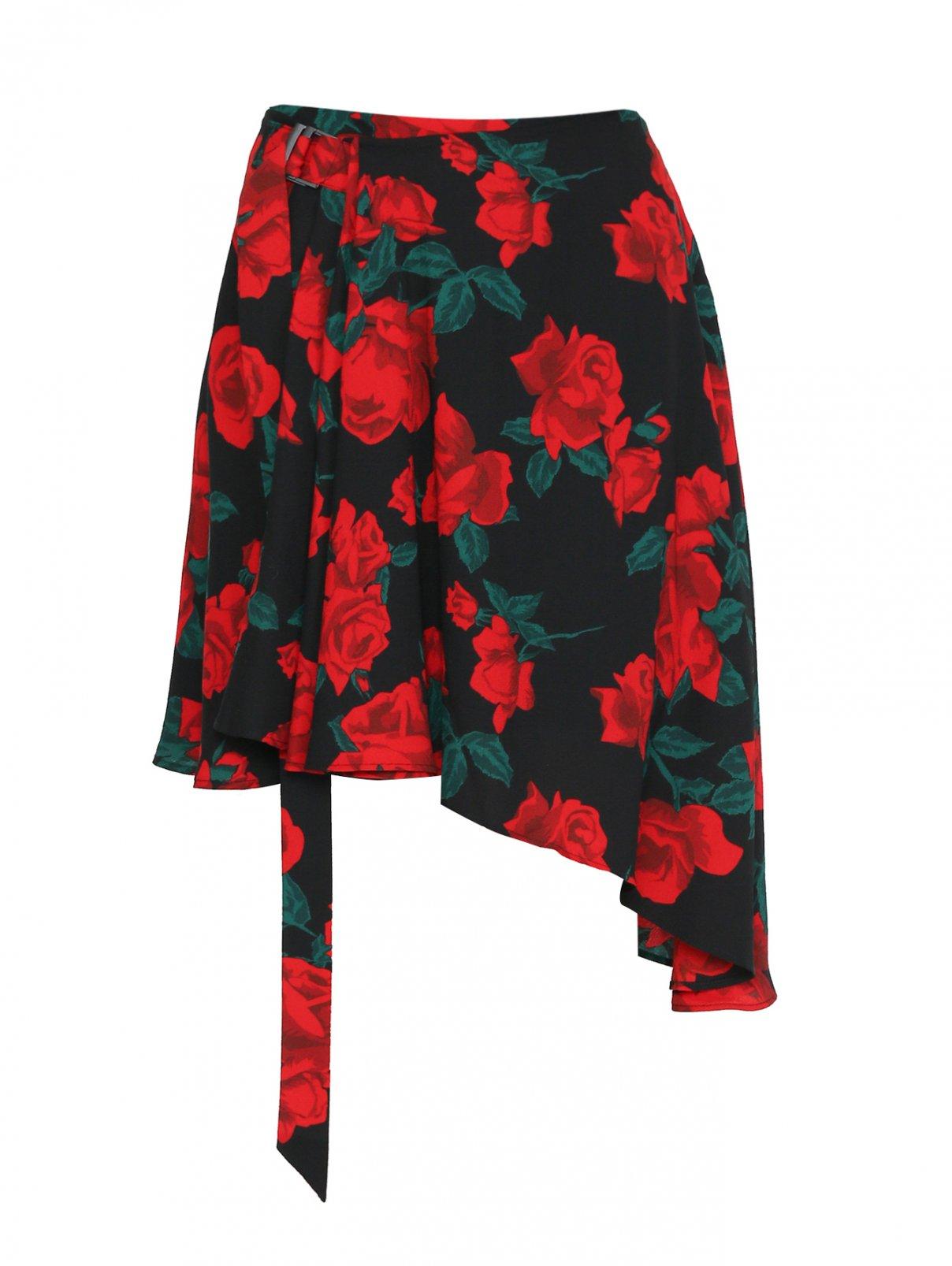 Юбка асимметричного кроя с цветочным узором Mo&Co  –  Общий вид