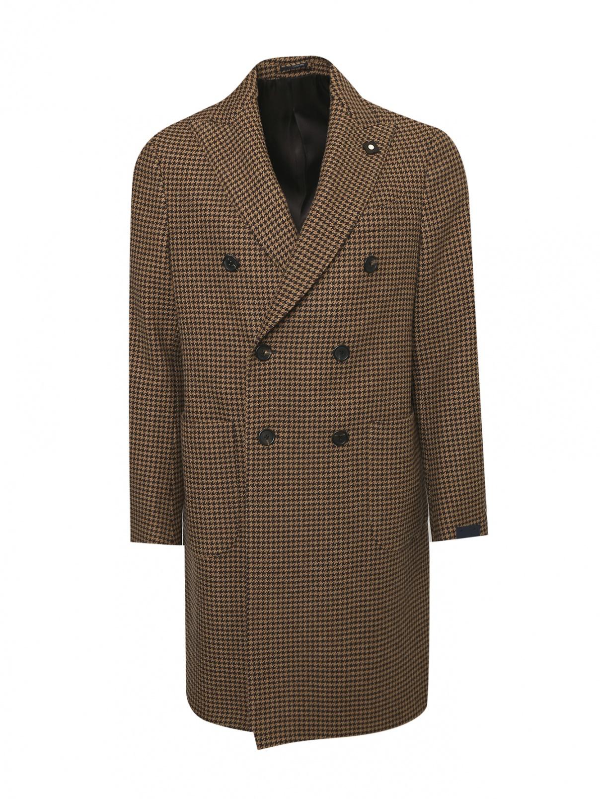 Пальто двубортное из шерсти с узором LARDINI  –  Общий вид
