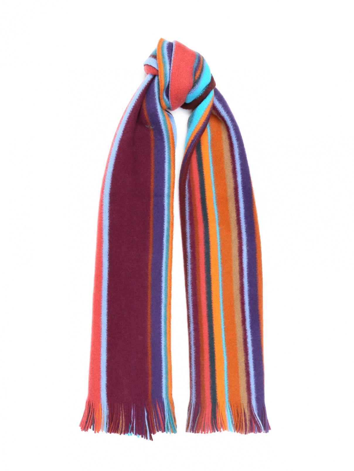Шарф из шерсти с узором полоска и бахромой Paul Smith  –  Общий вид