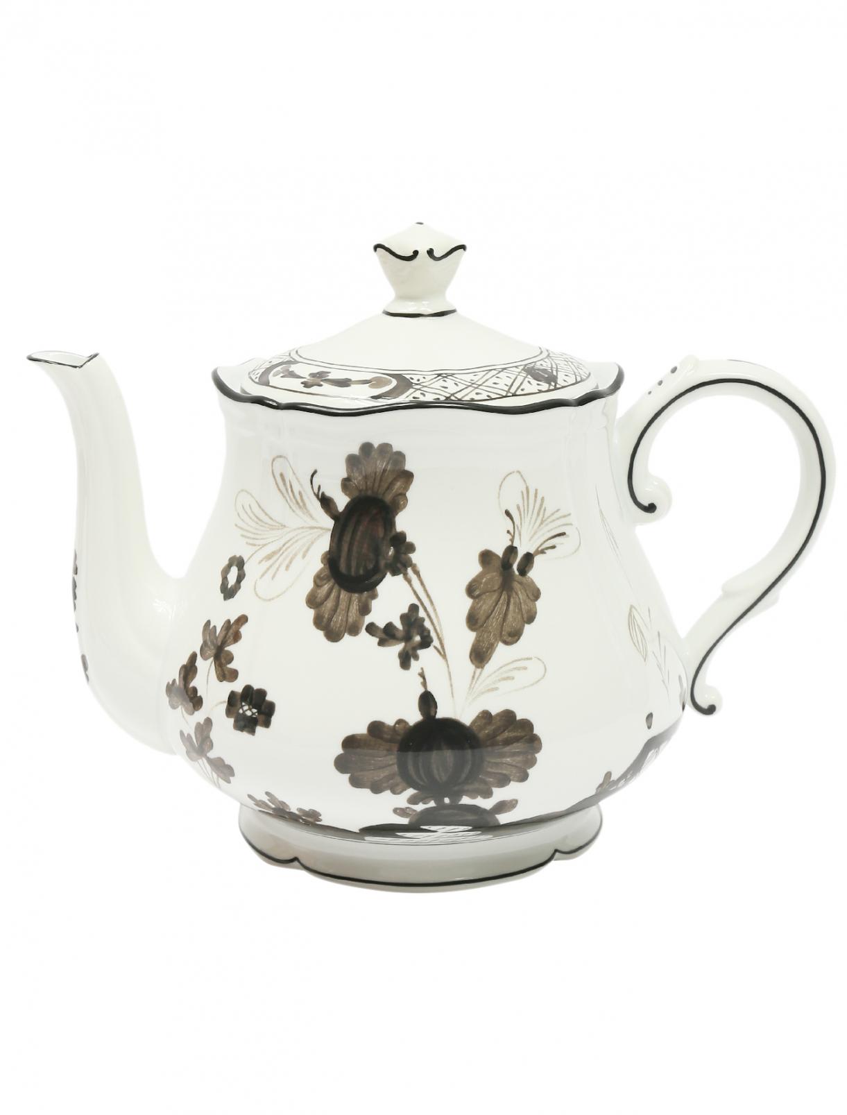 Чайник из фарфора с узором и окантовкой Richard Ginori 1735  –  Общий вид