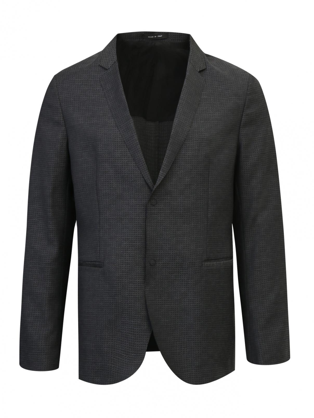 Пиджак  из тонкой шерсти с узором Emporio Armani  –  Общий вид