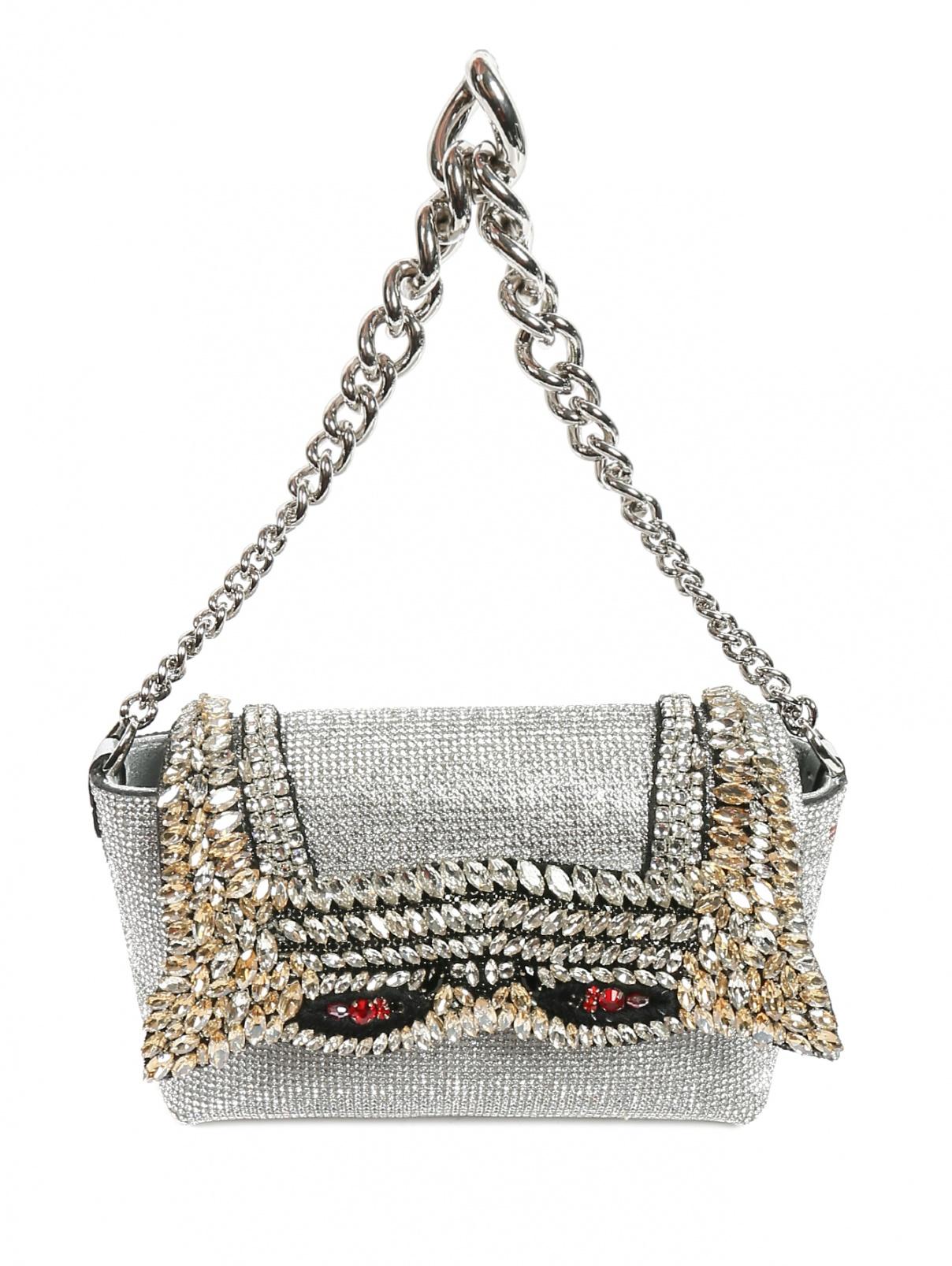 Кожаная сумка декорированная кристаллами и стразами Ermanno Scervino  –  Общий вид