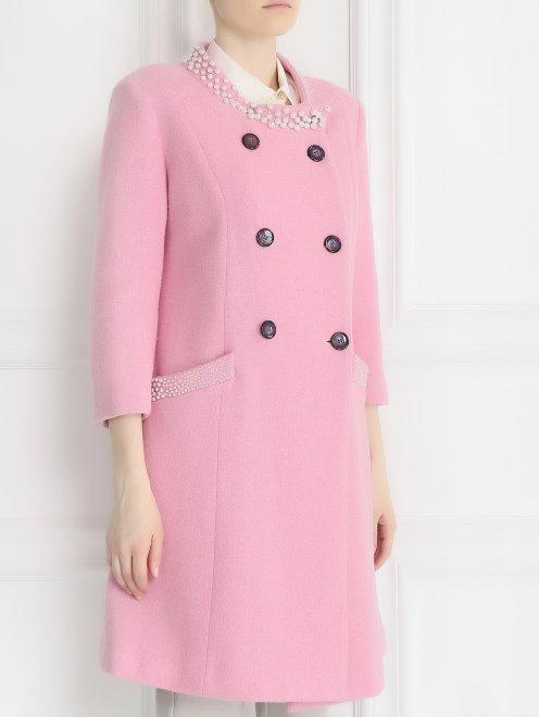 Пальто из шерсти с аппликаций из бусин - Модель Верх-Низ