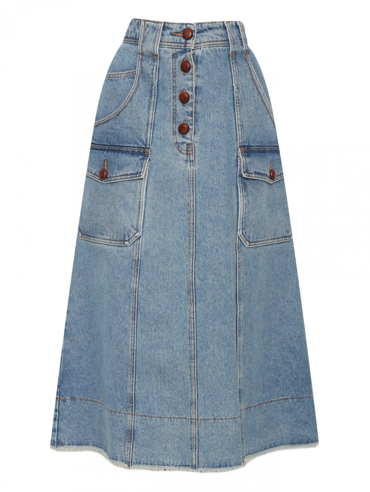 Джинсовая юбка миди из хлопка с пуговицами Philosophy Di Lorenzo Serafini  –  Общий вид