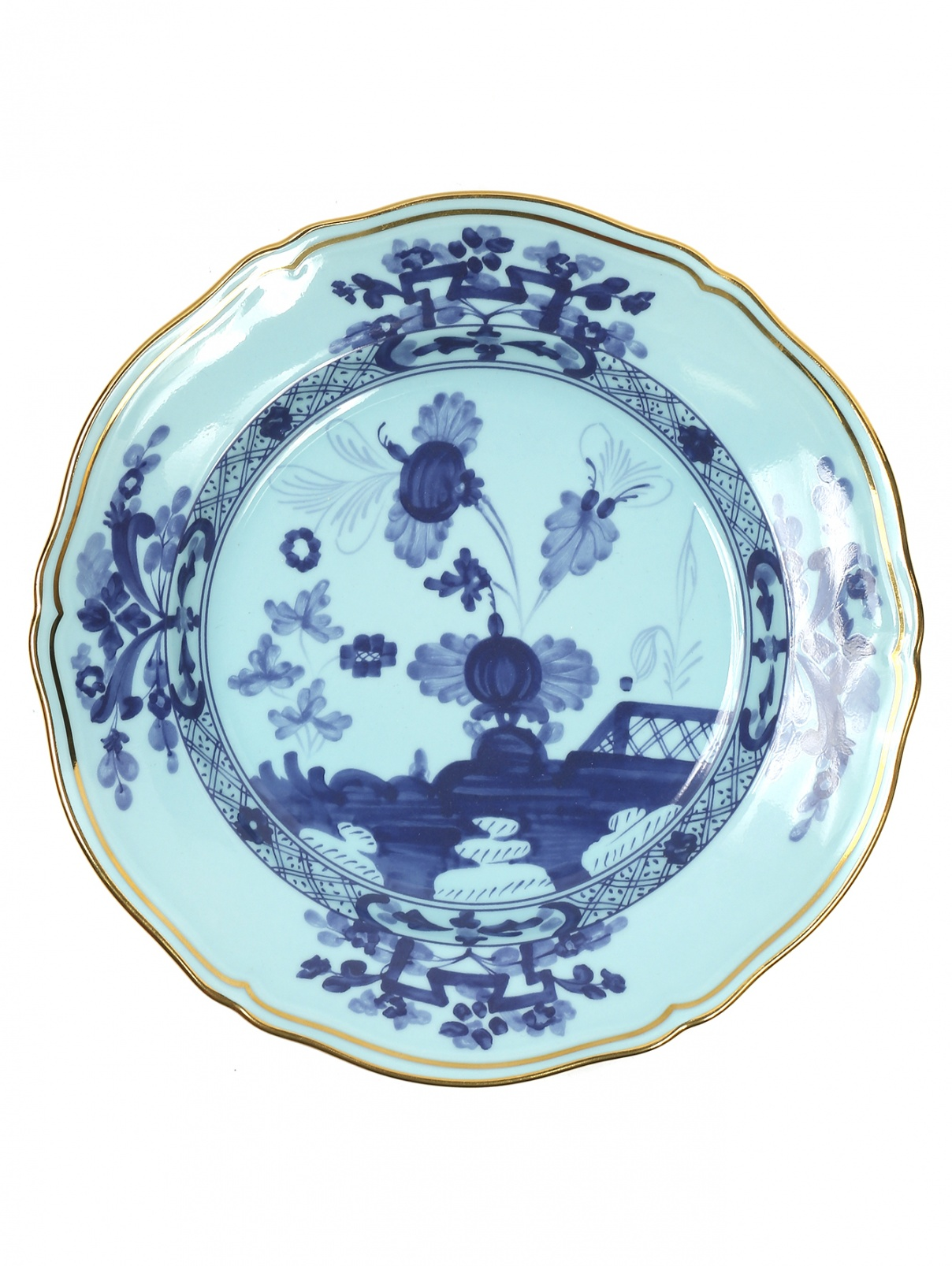 Тарелка десертная с узором и золотой окантовкой Richard Ginori 1735  –  Общий вид