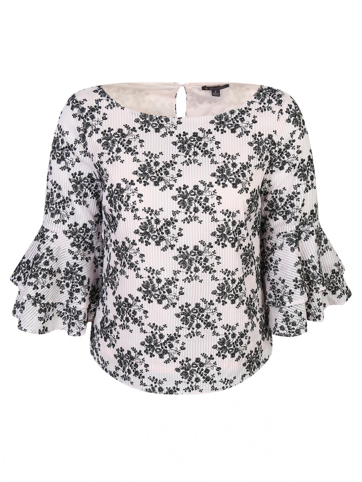 Блуза из хлопка с узором Brooks Brothers  –  Общий вид