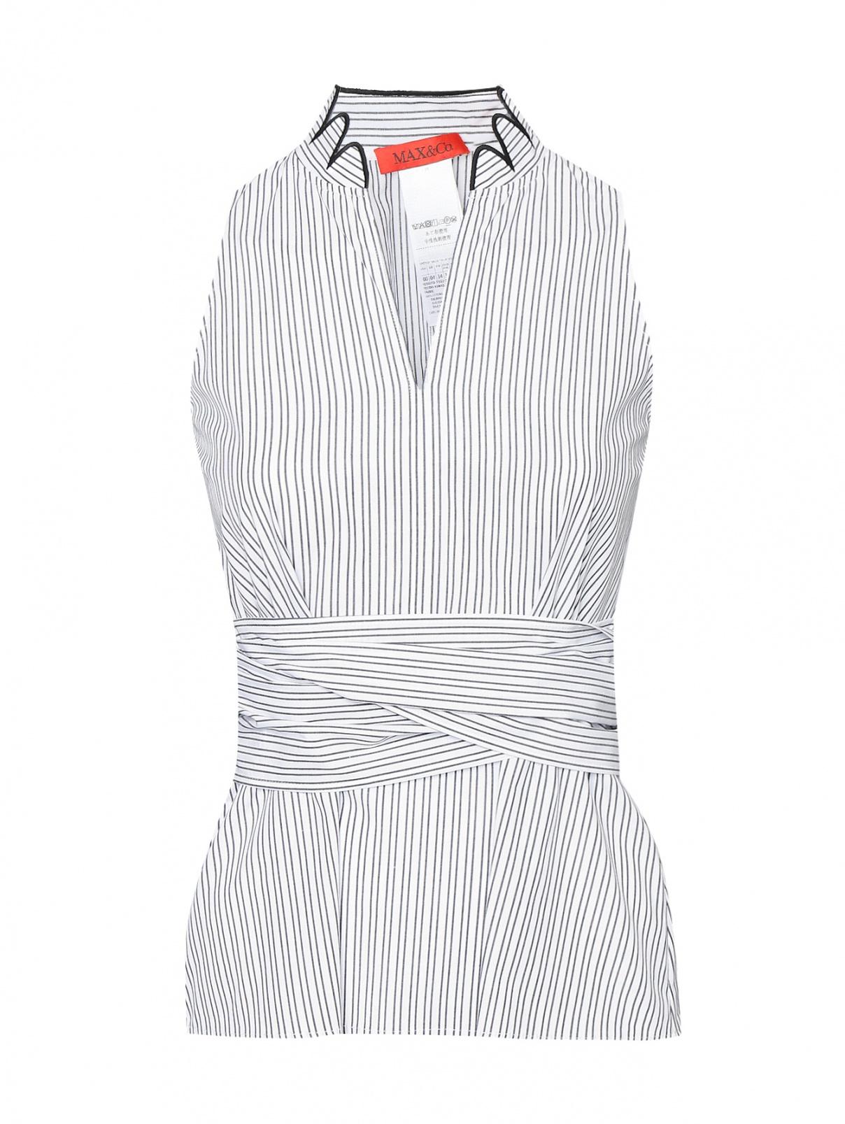 Блуза из хлопка в полоску Max&Co  –  Общий вид