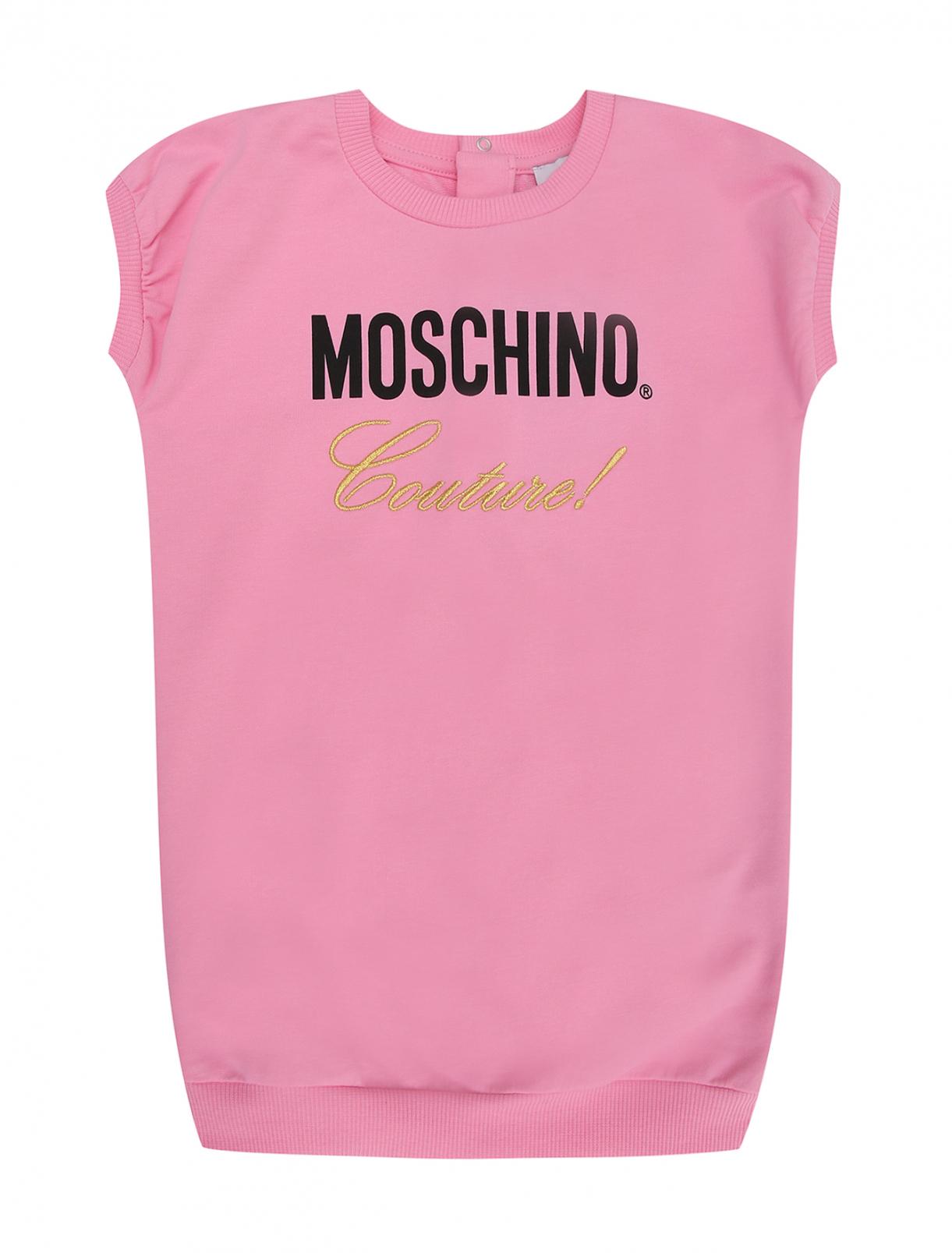 Платье трикотажное с принтом Moschino BABY  –  Общий вид