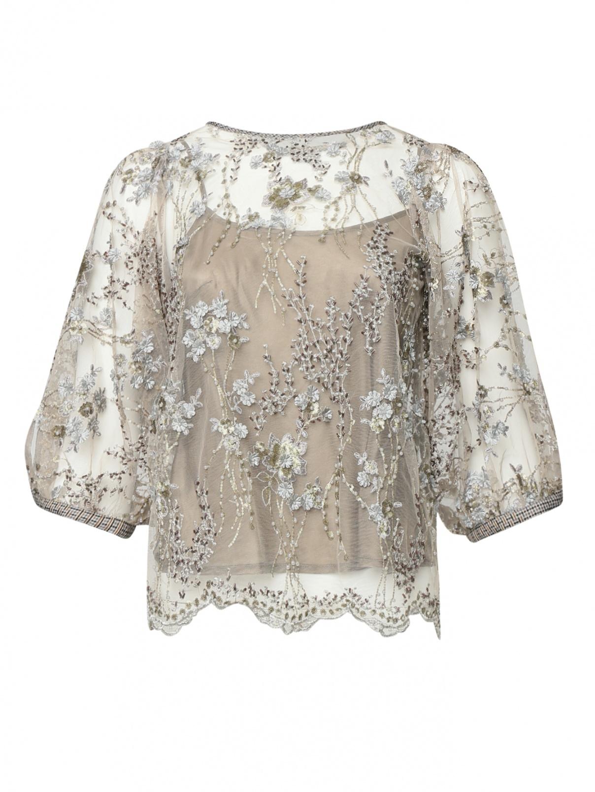 Блуза из сетки с вышивкой бисером и бусинами Antonio Marras  –  Общий вид
