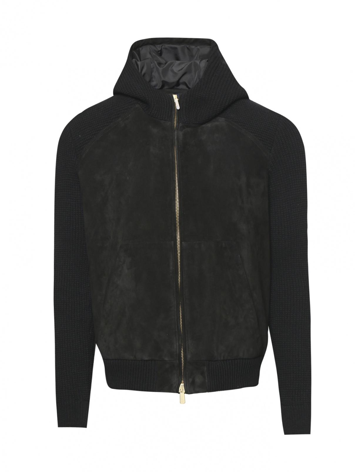 Куртка трикотажная из замши и шерсти с капюшоном LARDINI  –  Общий вид