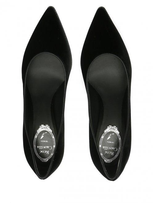 Туфли из бархата с декором из страз René Caovilla - Обтравка4