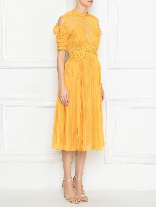 Платье из полупрозрачной ткани с плиссированной юбкой - МодельВерхНиз