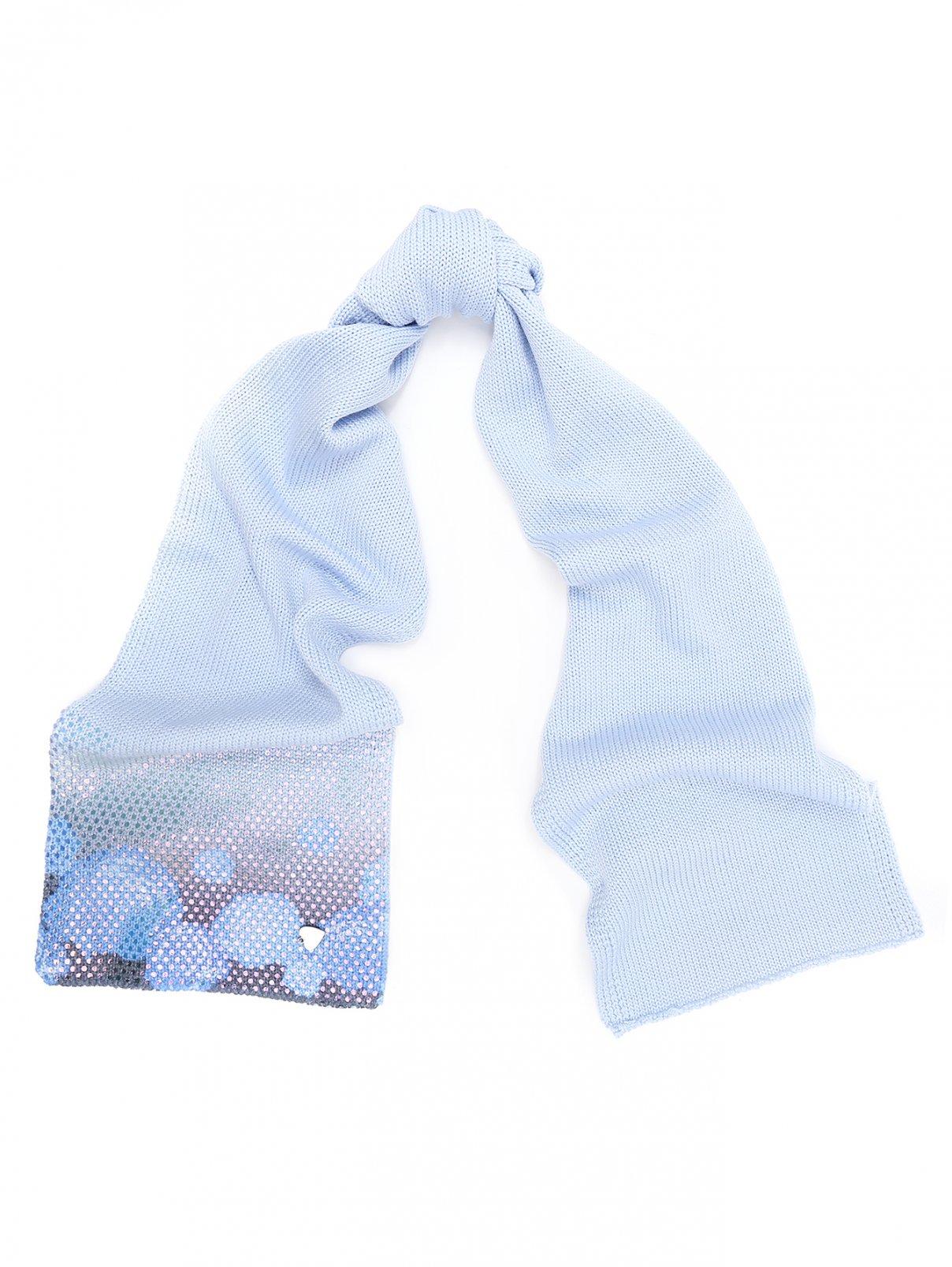 Шерстяной шарф декорированный рисунком IL Trenino  –  Общий вид