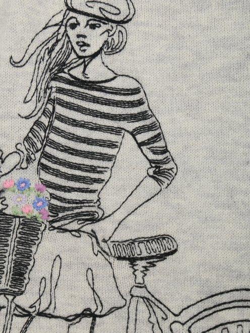 Джемпер хлопковый с вышивкой - Деталь