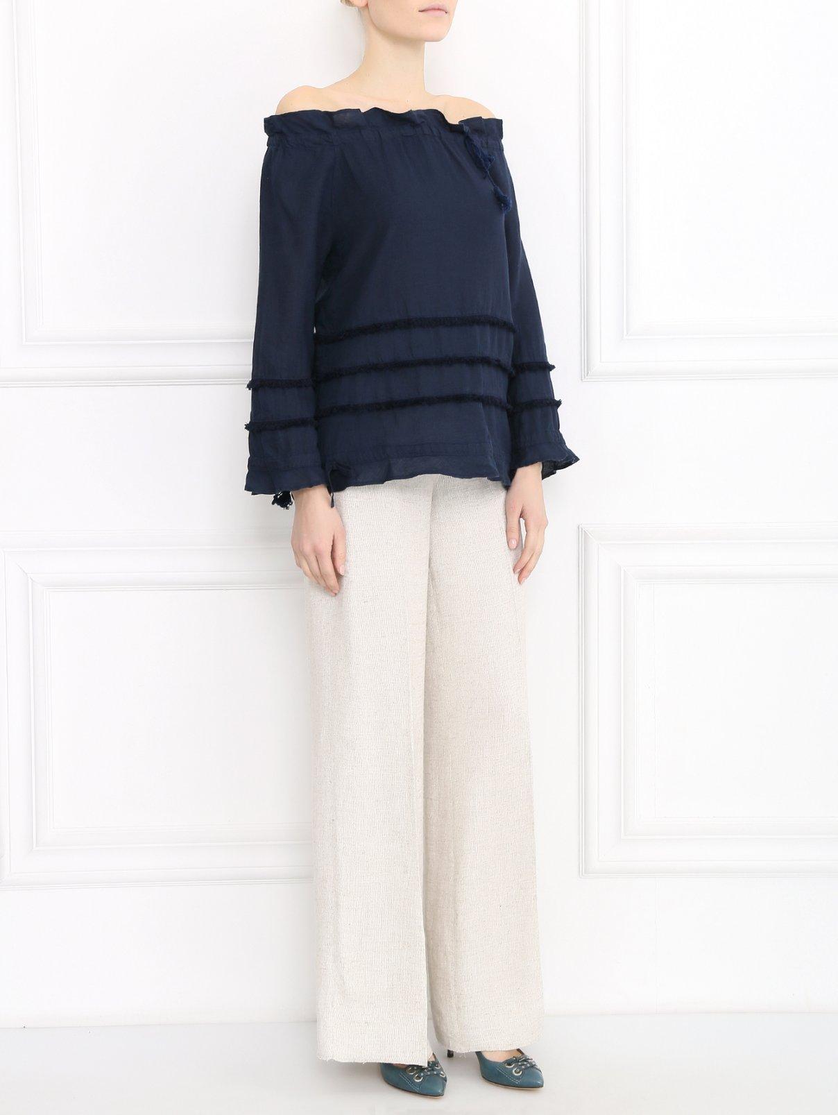 Блуза из льна с декоративной отделкой 120% Lino  –  Модель Общий вид