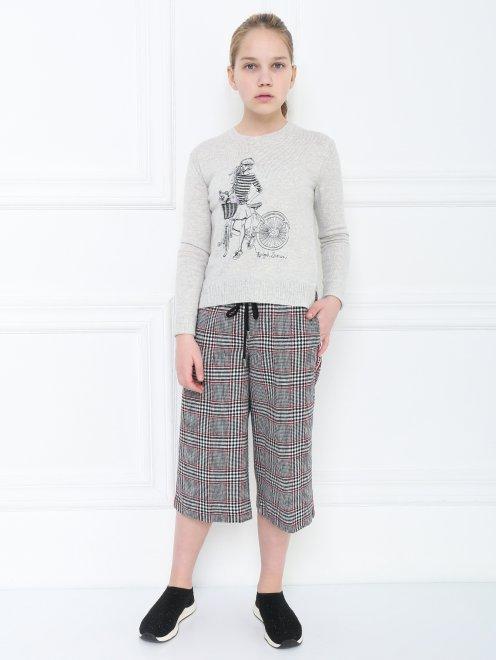 Джемпер хлопковый с вышивкой - Общий вид