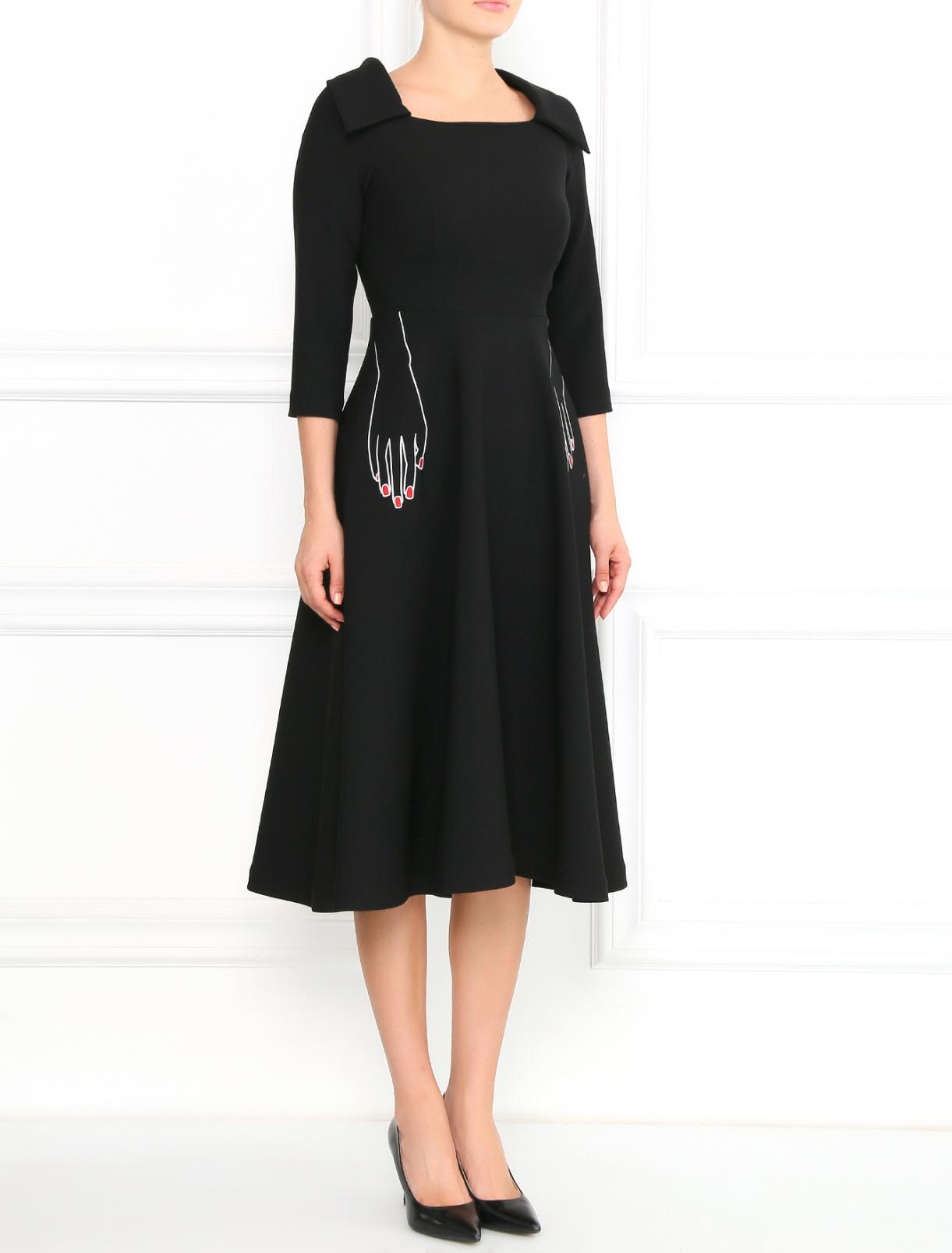 Платье-миди с вышивкой и рукавом 3/4 Vivetta  –  Модель Общий вид