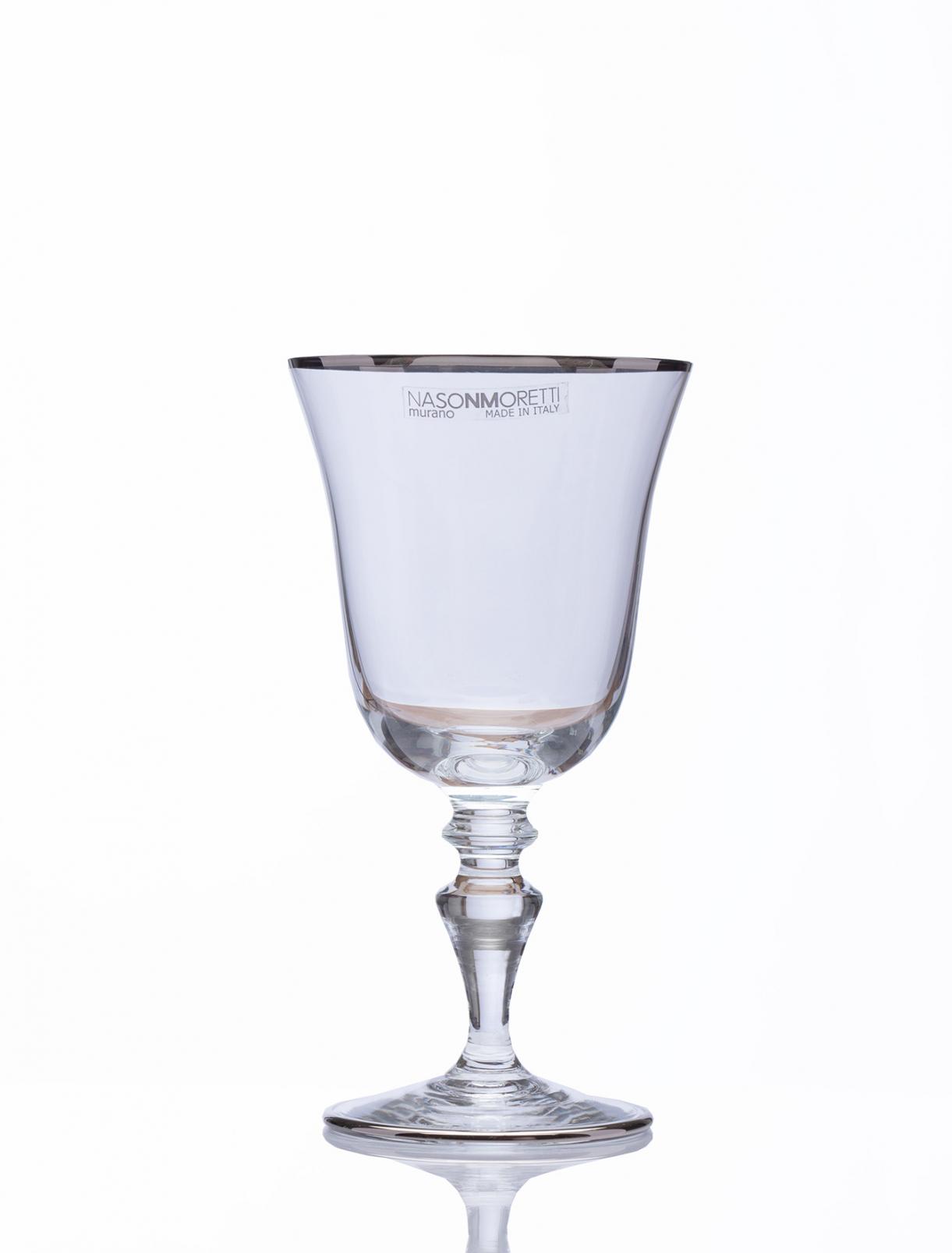 Бокал для белого вина с платиновым кантом, высота - 13,7 см, диаметр - 7,4 см NasonMoretti  –  Общий вид