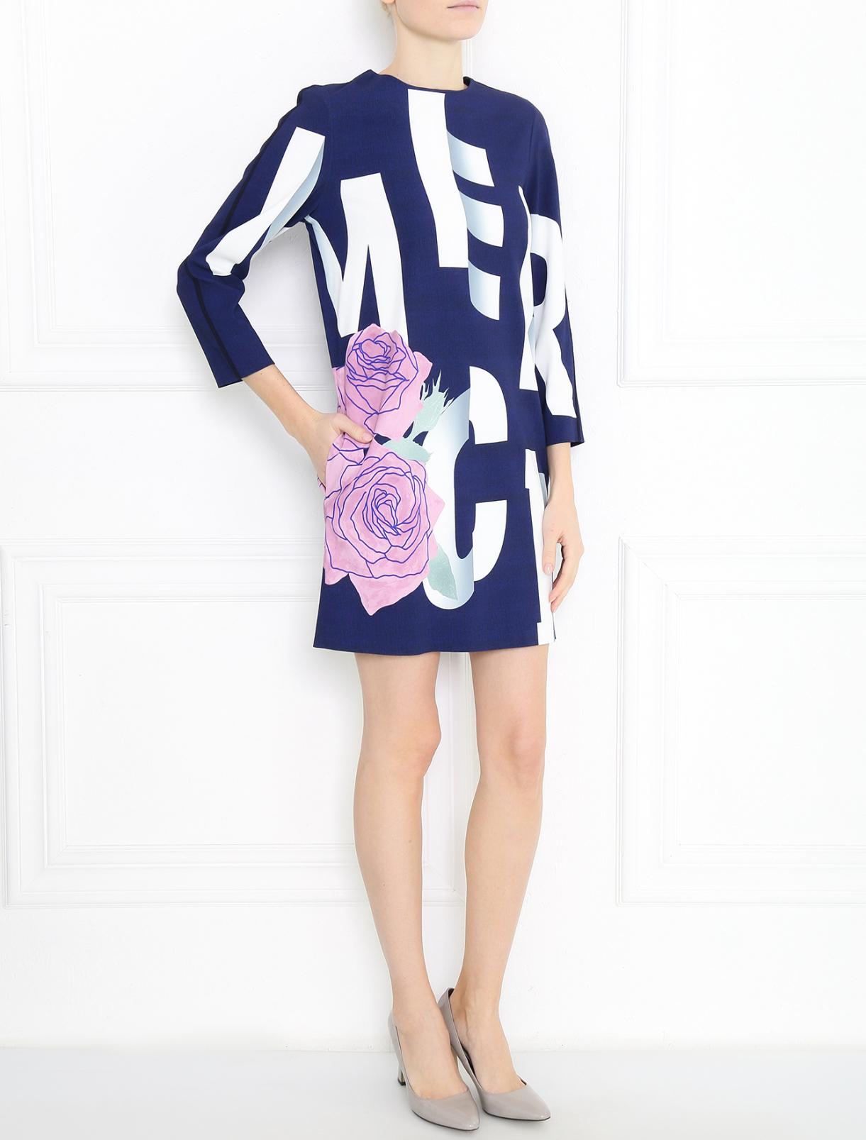 Платье свободного кроя с узором Sportmax  –  Модель Общий вид