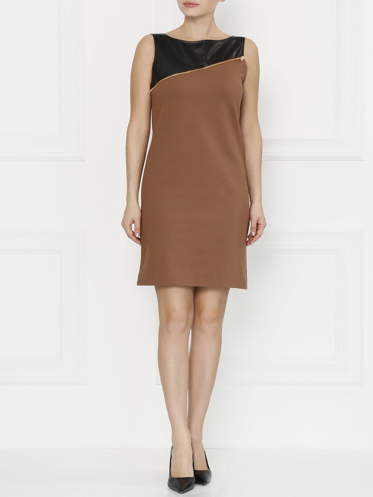 Мини-платье с вставкой из кожи и молнией Max&Co  –  Модель Общий вид