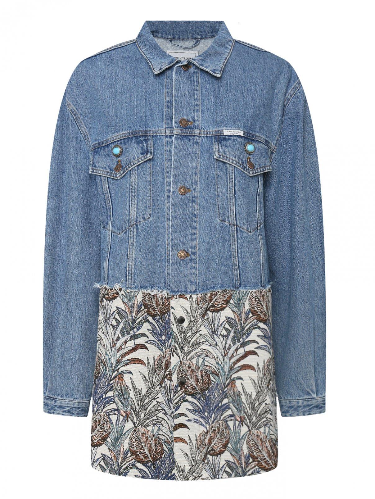 Джинсовая куртка из хлопка с вышивкой и аппликациями Forte Couture  –  Общий вид