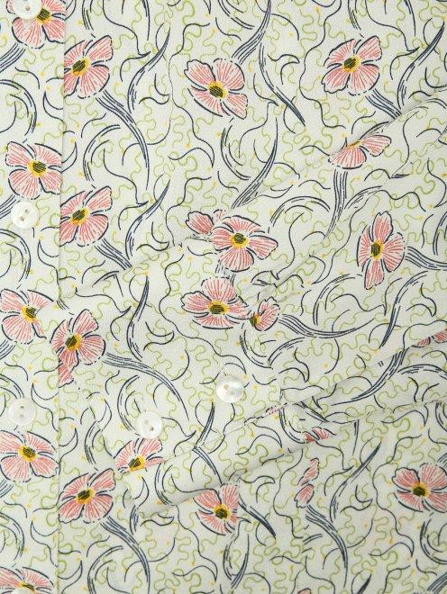 Шелковая блуза с цветочным узором - Деталь
