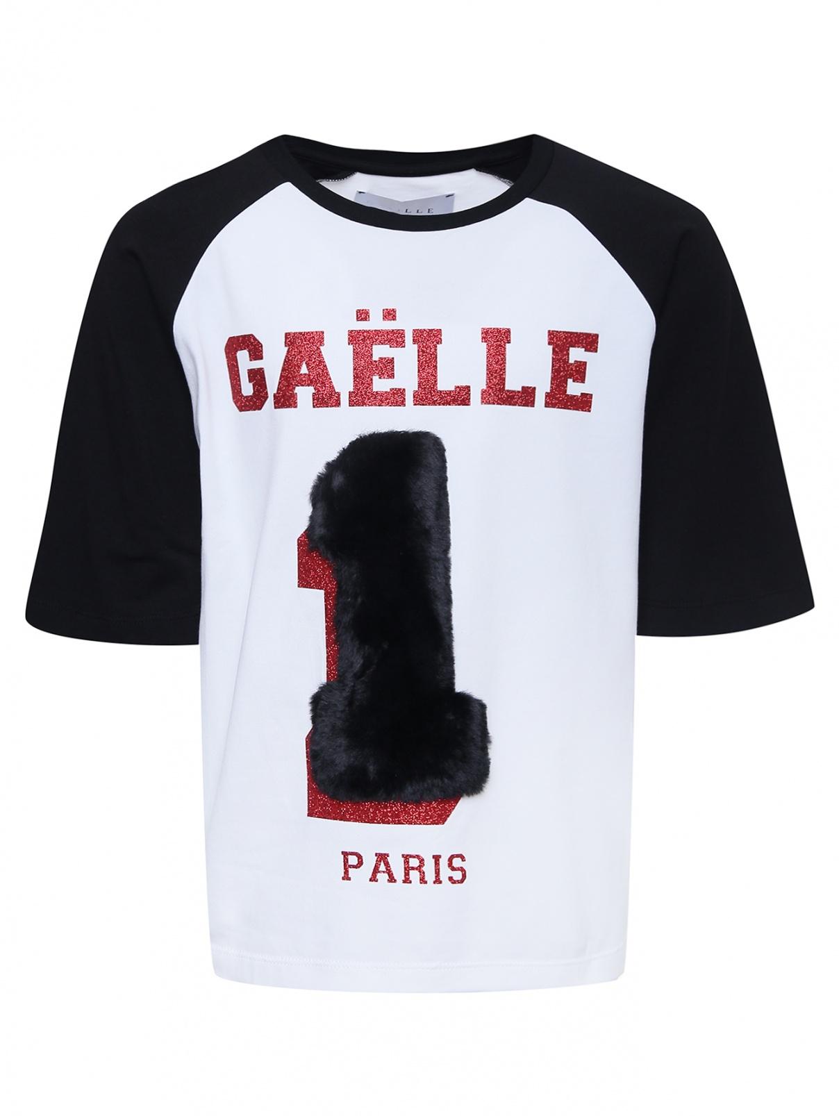 Футболка с аппликацией мехом и блестками Gaelle  –  Общий вид