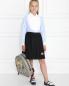 Рубашка из хлопка с фактурным жабо Aletta Couture  –  МодельОбщийВид