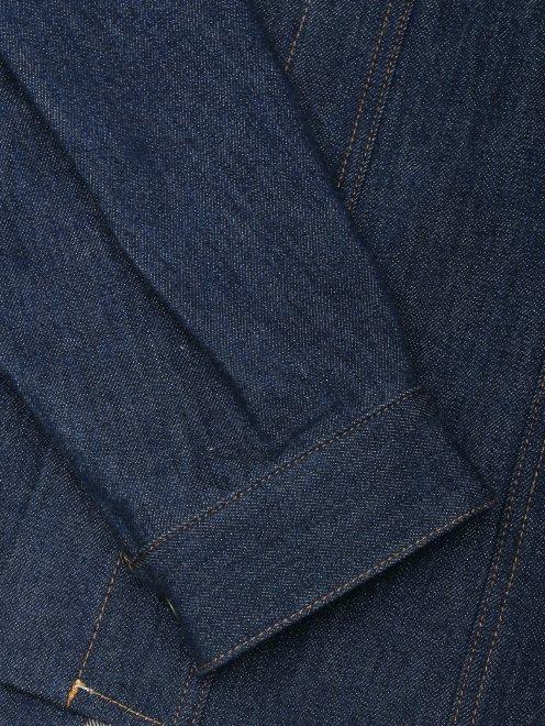 Рубашка из темного денима с объемными рукавами - Деталь1
